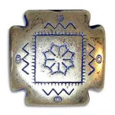 24mm Flat Concho Blue Denim Bead