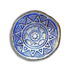 21mm Flat Designed Aztec Sun Blue Denim Bead, SH213/BDS, pack of 2