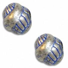 9mm  Snail Blue Denim Bead, pack of 10