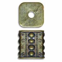 Fancy Rectangle Blue Denim Brass Bead