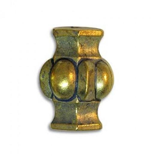 Blue Denim Brass Fancy Beaded Tube Bead
