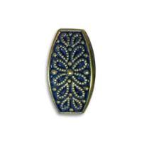 Blue Denim Brass Fancy Squared Oval Beads