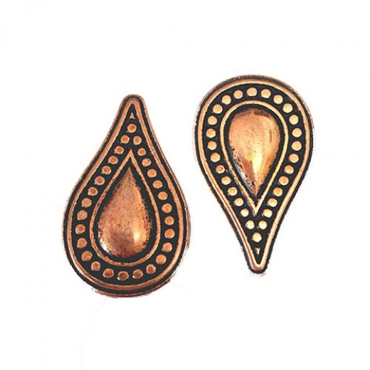 35mm Flat Designed Beaded Teardrop Bead, Antique Copper Plated