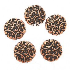 18mm Flat Designed Fancy Bead, Antique Copper Plated