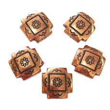 16mm Flat Designed Concho Fancy Bead, Antique Copper Plated, Pack of 2