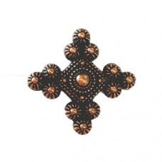 27mm Flat Diamond Pinwheel Cross Bead, Antique Copper Plated