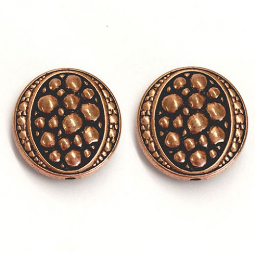 18mm Flat Designed Fancy Bead, Antique Copper Plated, Pack of 2