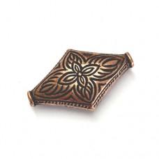 28mm Flat Designed Diamond Bead, Antique Copper Plated