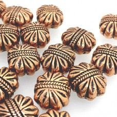 12mm Flat Designed Bead, Antique Copper Plated, pack of 4