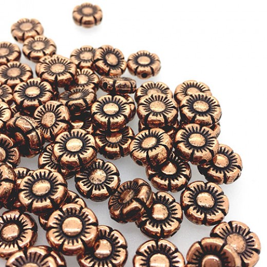 11mm Flat Designed Flower Bead, Antique Copper Plated, pack of 5