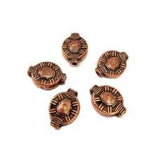 16mm Flat Designed Bead, Antique Copper Plated, Pack of 5