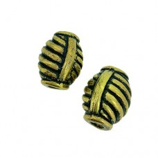 15 x 20mm Large Hole Striped Antique Gilt Bead