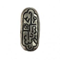 33mm Lozenge Shaped Scrimshaw Antique Silver Bead