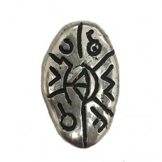33mm Oval Shaped Scrimshaw Antique Silver Bead