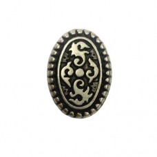24mm Flat Oval Patterned Antique Silver Bead