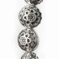 10mm Flat Designed Fancy Bead Antique Silver, Strand of 18