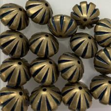 13mm Blue Denim Brass Fluted Beads, Pack of 4