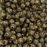 8mm Blue Denim Brass Roped Beads, Pack of 10