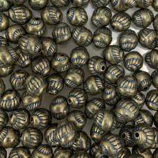 6 x 8mm Swirl Blue Denim Brass Beads, Pack of 8