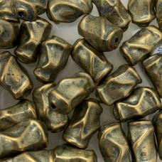15mm Blue Denim Brass Nugget Beads, Pack of 4