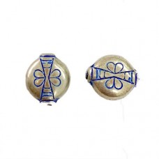 12mm Patterned Blue Denim Silver Beads, Pack of 5