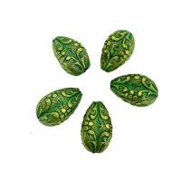 12 x 17mm Green Patina Brass Drop Beads, Pack of 5