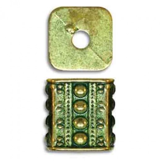 13x10mm Beaded Fancy Rectangles in Green Patina Brass, pack of 2