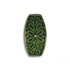16x8mm Fancy Squared Oval Green Patina Brass Bead