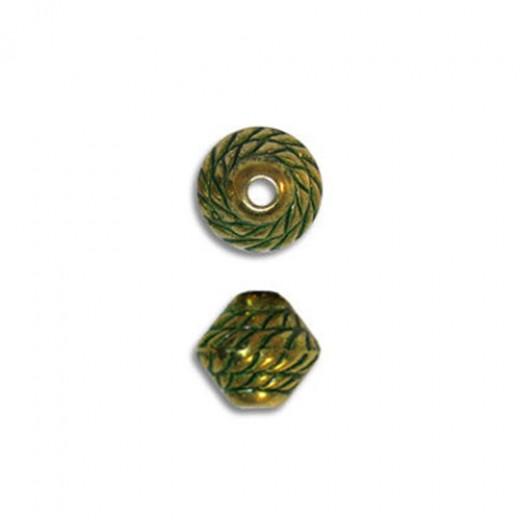 7x6mm Mushroom Rope Green Patina Brass Bead, Pack of 10