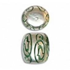 18x14mm Swirl Design Barrel Shaped Green Patina Bead