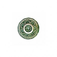18mm Embossed Disc Green Patina Bead