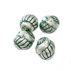 9mm Snail Green Patina Bead, pack of 10