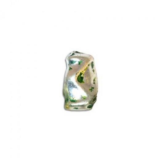 17x10mm Nugget Shaped Green Patina Bead