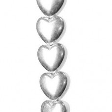 6mm Smooth Puffed Heart Beads, Shiny Silver Plated, 32 Beads