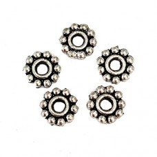 Antique Silver Tibetan Style Wheel Spacer Beads, 6.5mm, Pack of 50