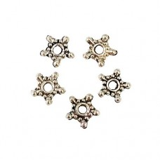 Antique Silver Tibetan Style Snowflake Spacer Beads, 8mm, Pack of 50