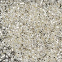 Crystal Silver Lined, Colour code  41 Size 15/0 Cut Delicas, 5.2g approx.