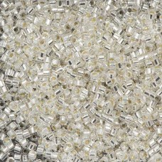Crystal Silver Lined, Colour Code 0041, Size 11/0  Cut Delicas, 5.2g approx.