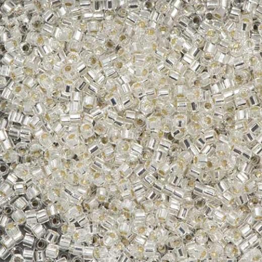 Bulk Bag Crystal Silver Lined , Colour code  41 Size 15/0 Cut Delicas, 50gm bag