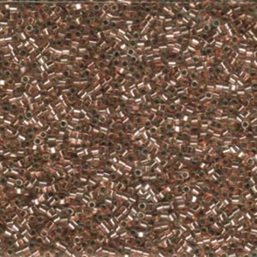Crystal Copper Lined Hex Cut Miyuki Size 15/0 Delica, Colour code 0037, Approx. 5.2g