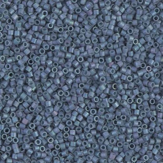 Matte Metallic Lt Grey-Blue Miyuki 15/0 Delicas, colour 0376, 5.2g approx.