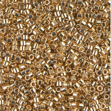 Light Gold 24Kt Plated Size 8/0 Miyuki Delica, Colour Code 0034, 3.3g approx.