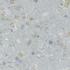 Crystal Transparent AB Miyuki Half Tila Beads, code 0250, 50gm bag