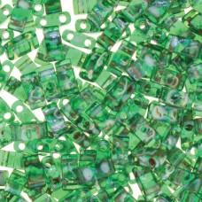 Picasso Transparent Green Miyuki Half TILA Beads, Colour 4507, 5.2g appx.