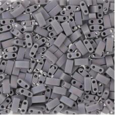 Opaque Cement Grey Matted AB Miyuki Half TILA Beads, Colour 0498FR, 5.2g appx.