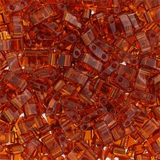 Dark Amber Transparent Half Tila Beads, colour 0134 50gm approx. wholesale pack