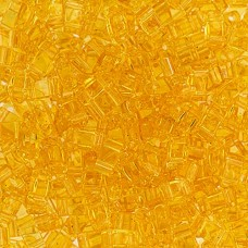 Light Amber Transparent Miyuki Half Tila Beads, code 0132  50gm bag