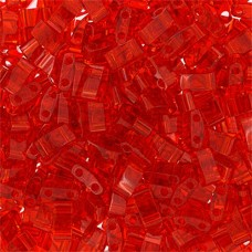 Red Transparent Half Tila Beads, colour 0140, 5.2gm approx.