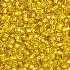 Gold Silver Lined Miyuki Size 15 Seed Beads, Colour 0003, 8.2gm Approx.