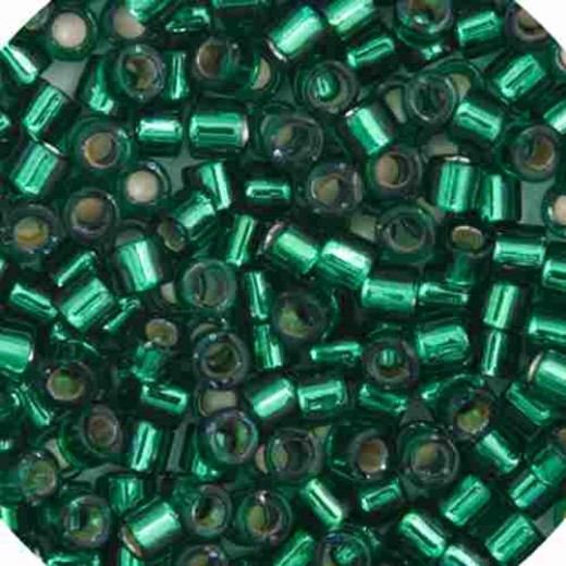 Emerald Silver Lined-Dyed, Size 10/0 Delica, Colour  0605, 50g Wholesale pack